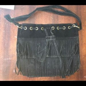 Womens Boho Black Faux Suede Fringe Purse.BRANDNEW